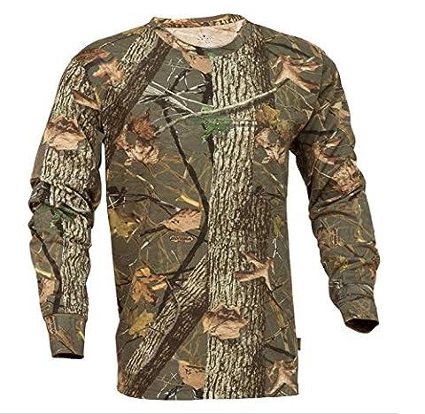 King's Camo Classic Long Sleeve Camo Hunting Tee, Woodland Shadow, Large - Woodland Camouflage Tee T-shirt Top