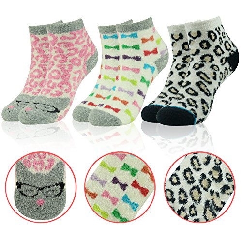 Slipper Socks Gift Socks,Women's Plush Winter Lovely Cartoon Pattern Anti-slip Room Socks with Grippers Vive Bears 3 Pairs