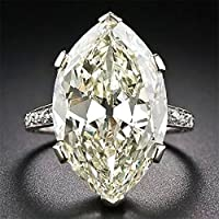 khamchanot Women Men 2.8CT White Topaz 925 Silver Jewelry Wedding Engagement Ring Size 6-10 (10)