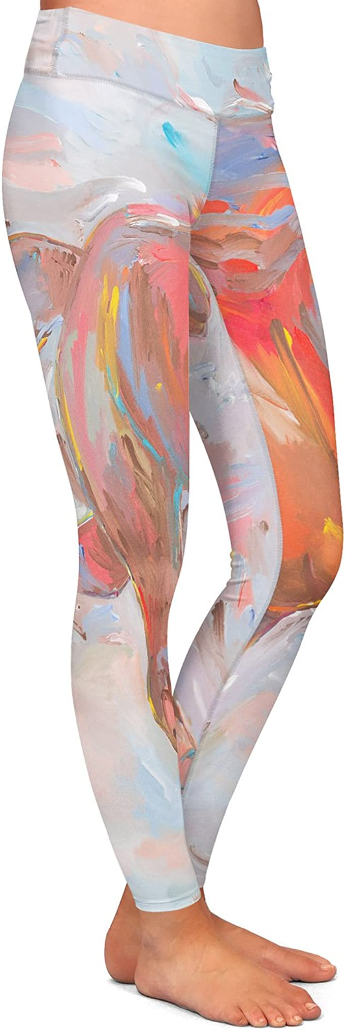 Athletic Yoga Leggings from DiaNoche Designs by Metka Hiti Leafs and Flowers Inside BW