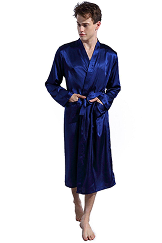 LANBAOSI Men Satin Silk Robe Long Sleeve Pajamas Shawl Collar Gown Sleepwear