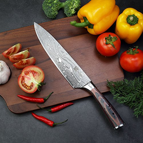 PAUDIN Pro Kitchen Knife 8 Inch Chef's Knife N1 German High Carbon Stainless Steel Knife with Ergonomic Handle, Ultra Sharp, Best Choice for Home Kitchen and Restaurant by PAUDIN (Image #5)