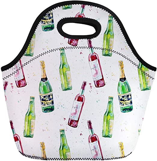 """Lunch Bag Beer or Wine Cooler Insulated Neoprene 10/"""" X 7/"""" Picnic Bag"""