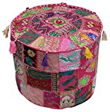 Southwest Decor Pouf - Moroccan Stool Pouf Ottoman 18.5 x 14 Inch Bohemian Traditional Vintage Foot Pouf Cover - Handmade Cotton Fabric - Patchwork on Pink Base