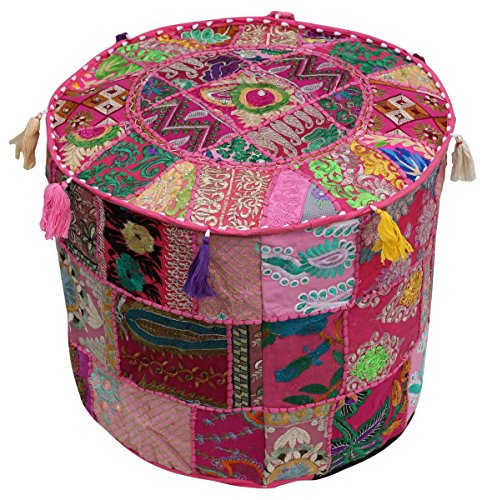 Southwest Decor Pouf - Moroccan Stool Pouf Ottoman 18.5 x 14 Inch Bohemian Traditional Vintage Foot Pouf Cover - Handmade Cotton Fabric - Patchwork on Pink Base by SouvNear