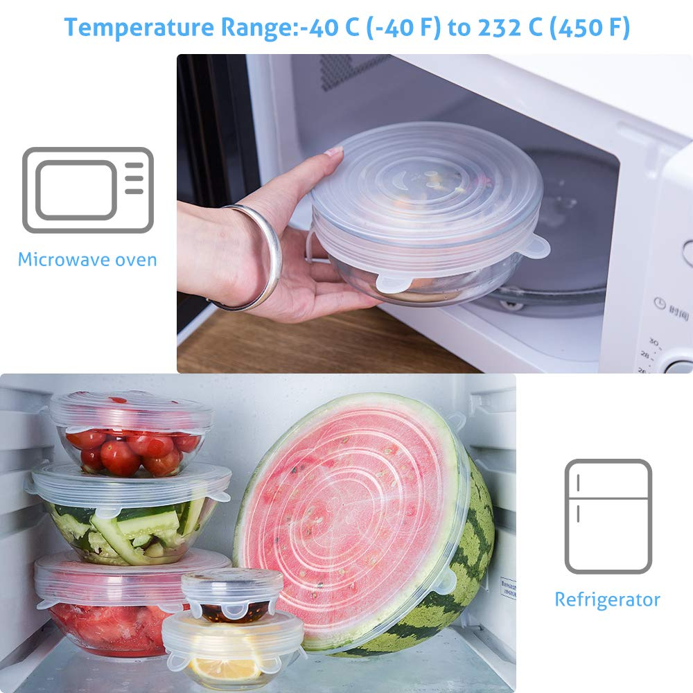 Silicone Stretch Lids, 12 Pack Reusable Airtight Food Storage Covers, Keeping Food Fresh, Durable and Stretchable to Fit Various Sizes and Shapes of Containers.Microwave and Dishwasher Safe 6 Sizes by moopok (Image #3)