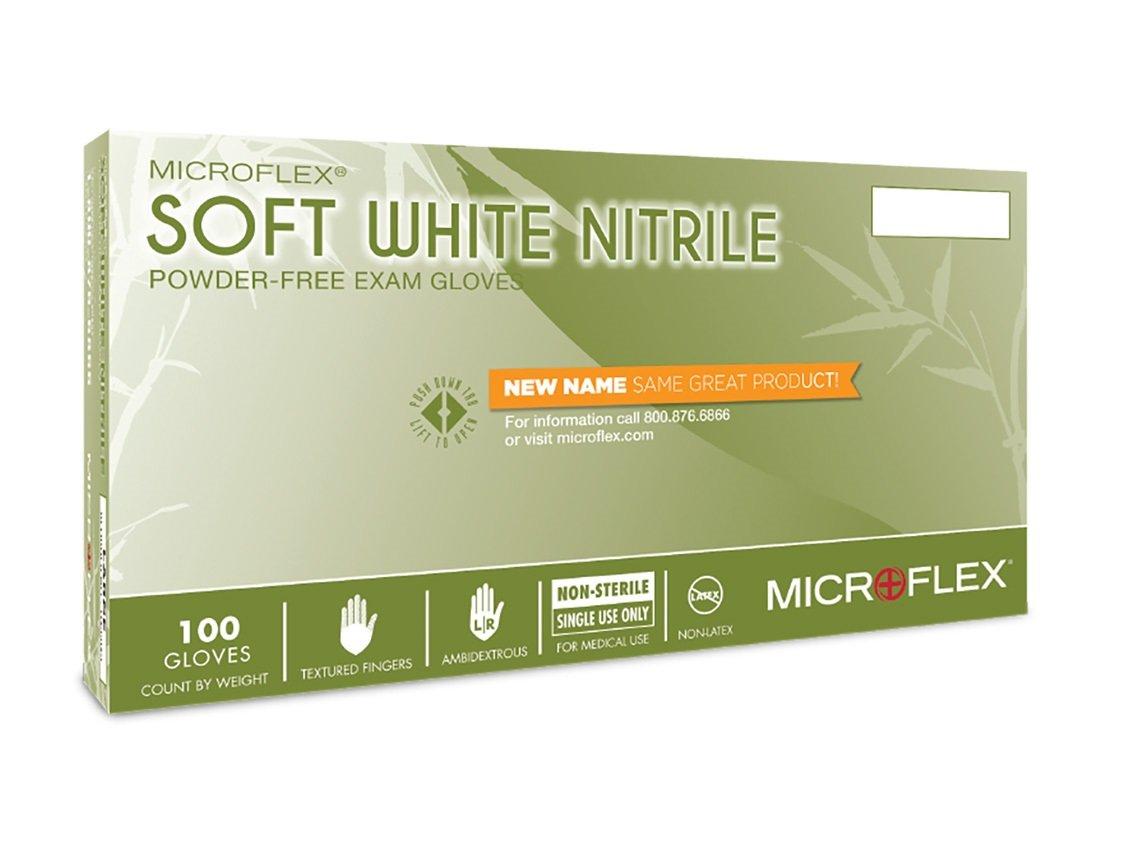 Microflex Soft White Nitrile Exam Gloves, Medium, 100 Gloves per Box, 10 Boxes per Case