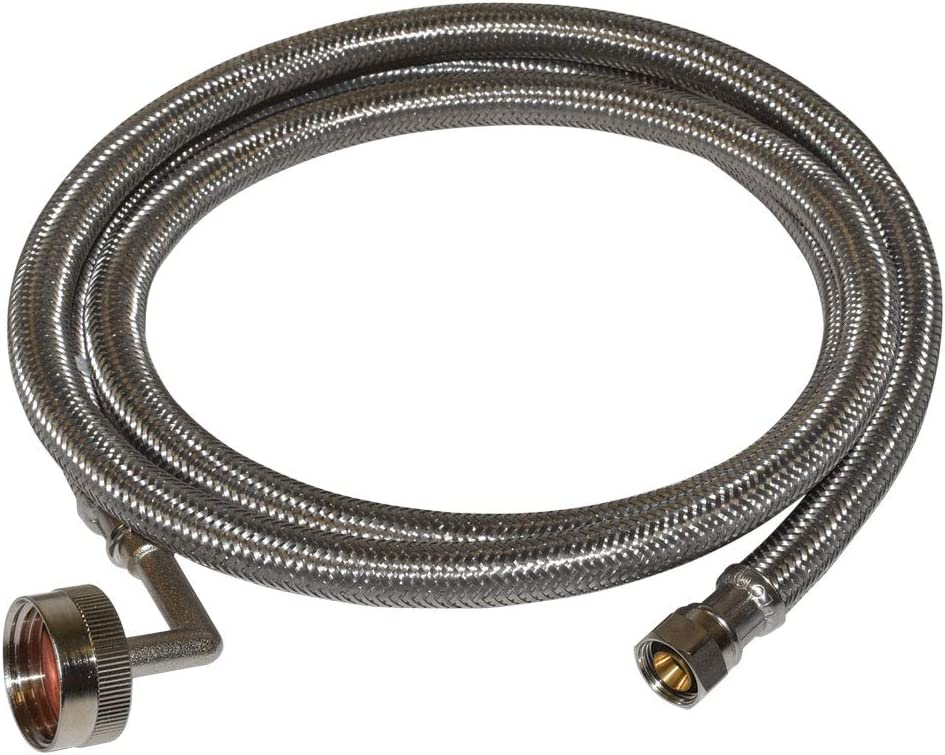 Eastman 41013 Braided Stainless Steel Dishwasher Connector with Elbow, 8 Feet, Silver