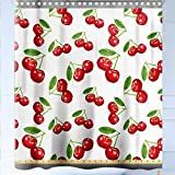 HAIXIA Shower-Curtains Kitchen by The Yard Cherry Pattern Design Fresh Berry Fruit Summer Garden Macro Digital Print Red Green and White