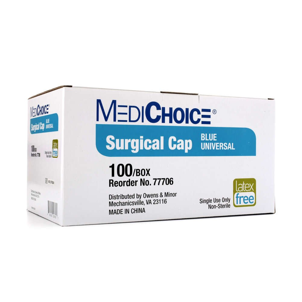 MediChoice Surgeon Caps, With Ties Scrim, Polypropylene, Blue (Box ...