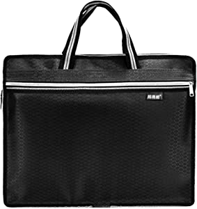 Zipper Business Document Bag | Men Messenger Work Briefcase with Waterproof Fabproof Fabric & Multi Purpose Usage for Storing Files Folder Document Notebooks Stationery Items for Meeting (Black)
