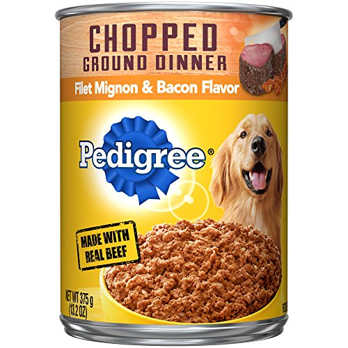 Pedigree Chopped Ground Dinner Canned Wet Dog Food Filet Mignon & Bacon Flavor, (12) 13.2 Oz. Cans ()