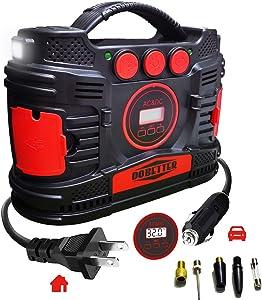 Portable Air Compressor Pump, Car 12V DC & Home 110V AC Tire Inflator with Digital Pressure Gauge Dobetter-DBPAP15