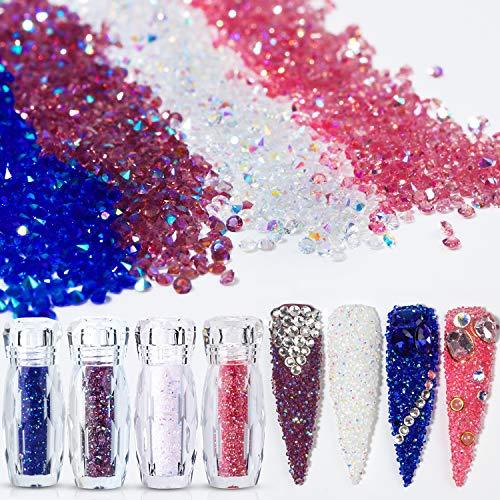 (4 Iridescent AB Colors 5g×4 Ultra Tiny Mini 1.2mm Diamond DIY Glass Rhinestones Crystals Long Lasting Shine Like Swarovski for Nail Art Phone DIY Crafts& Nail Beauty Makeup Deco(UV Glue Need) Pack 2)