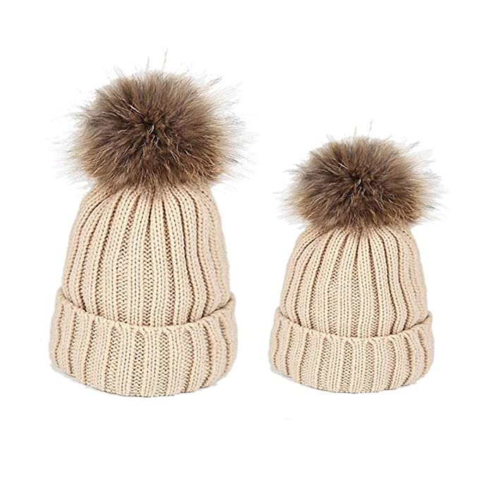 Amazon.com  SJIAO Mom and Me Matching Warm Winter Hat  Red Black White Pink Beige Mommy and Me Hats Set Women Boys Girls Baby Hats    Caps (Beige Set)  ... 95eee3649ba