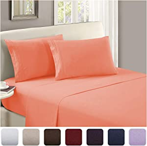Mellanni Luxury Flat Sheet - Brushed Microfiber 1800 Bedding Top Sheet - Wrinkle, Fade, Stain Resistant - Ultra Soft - Hypoallergenic - 1 Flat Sheet Only (King, Coral)