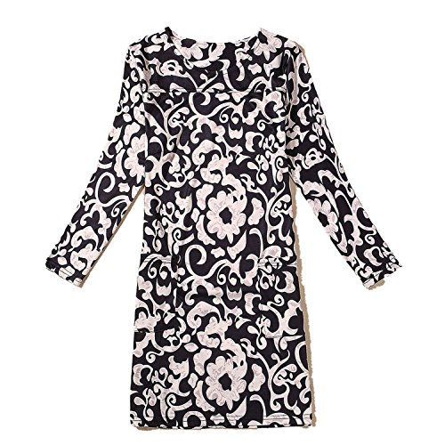 Dress Classic Printing Stretch Long Sleeve Large Size Skirt a Large Stock,Morning Glory,4XL