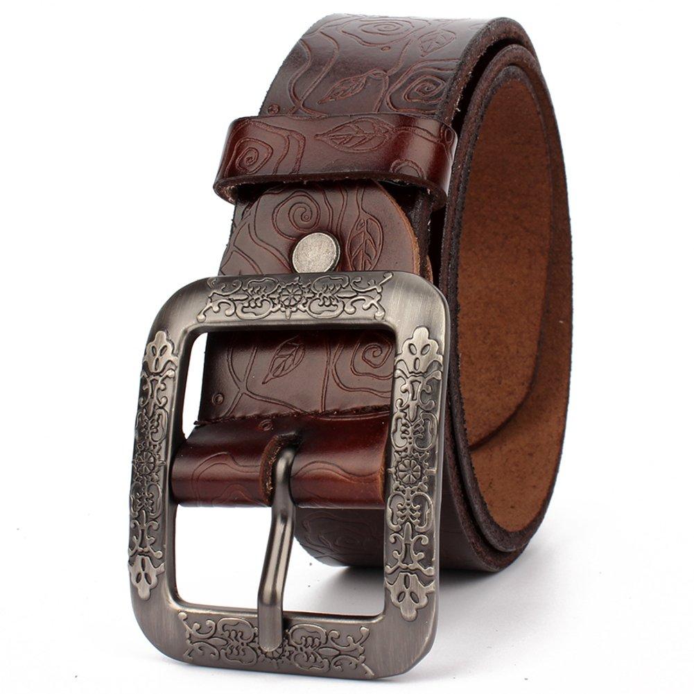 Ladies Retro Belt,Stylish Button Belt Leisure Wild Genuine Leather Belt Distribution Jeans Belt