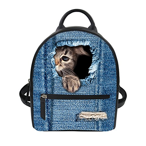 Nopersonality - Bolso al hombro para mujer Gris Dolphin3 Denim Cat