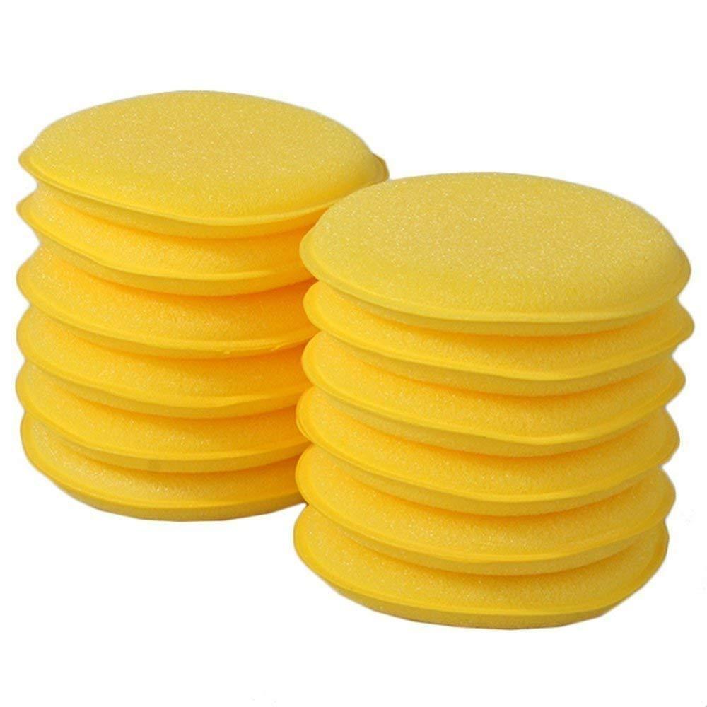 CXUKUN Microfiber Applicator Pads Car Cleaning Polishing Waxing Foam Sponge Wax Applicator Pads Car Vehicle Glass Waxing Polish Cleaning-Yellow-12 Pack