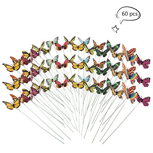 Butterfly Metal Flowers (Teenitor Butterfly Stakes, 60pcs 7cm Garden Butterfly Stakes Decor Outdoor Yard Patio Planter Flower Pot Spring Garden)