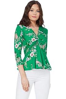 1fe103d201f0 Roman Originals Women Floral Print V-Neckline 3 4 Sleeve Top - Ladies Jersey  Going Out Smart…