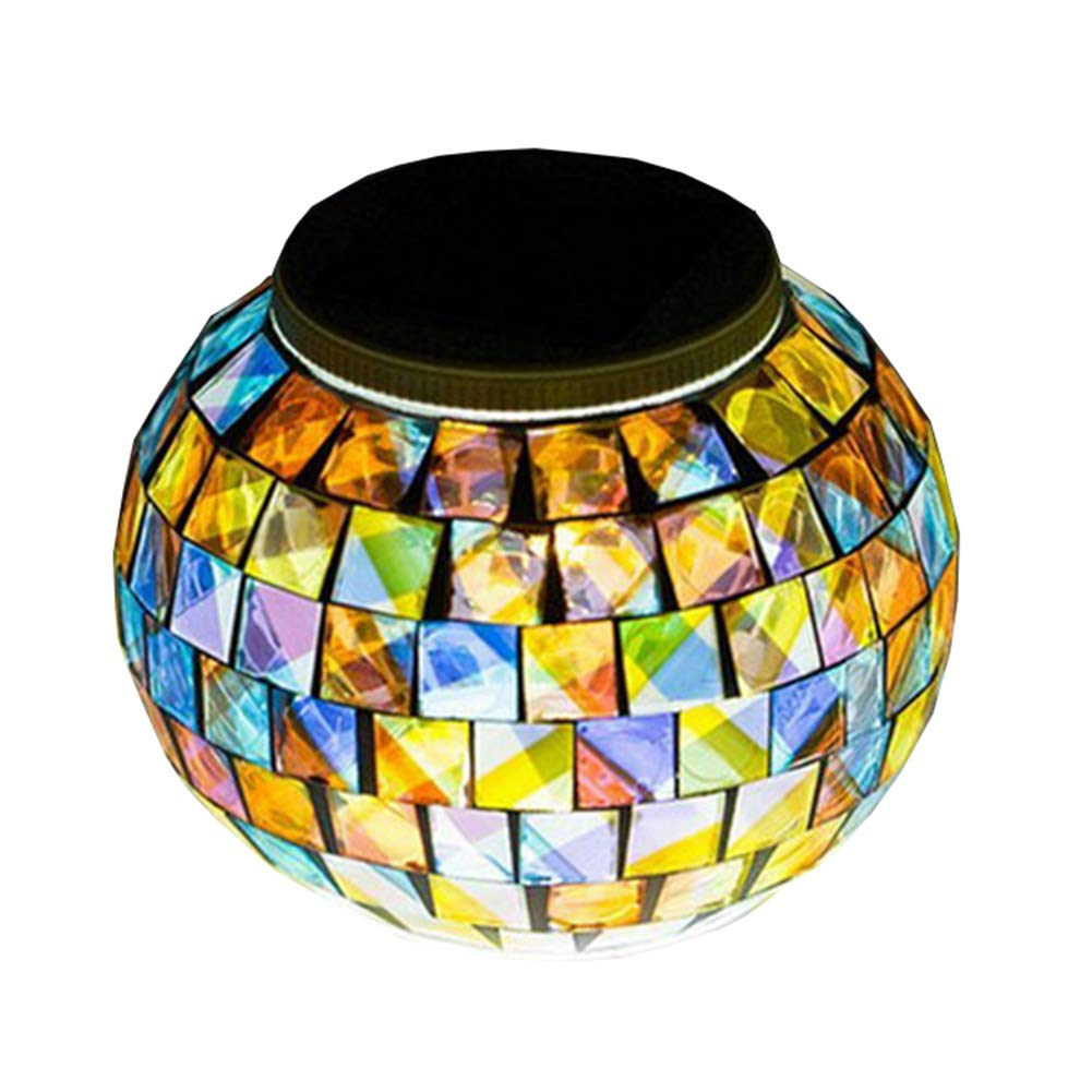 Solar Glass Ball Table Light - Aukora Color Changing Solar Powered Mosaic Glass Table Lamps, Waterproof Led Night Light for Bedroom Yard Patio Halloween Christmas Decorations, Ideal Gifts