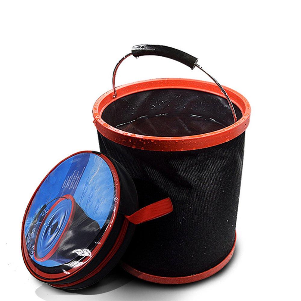 Pieghevole secchio 3.2GAL, portatile e pieghevole secchio pesca secchio per pulizia auto lavaggio secchio nessuna fuoriuscita in tessuto nero con custodia con cerniera per escursionismo campeggio casa (12L) Kunhong