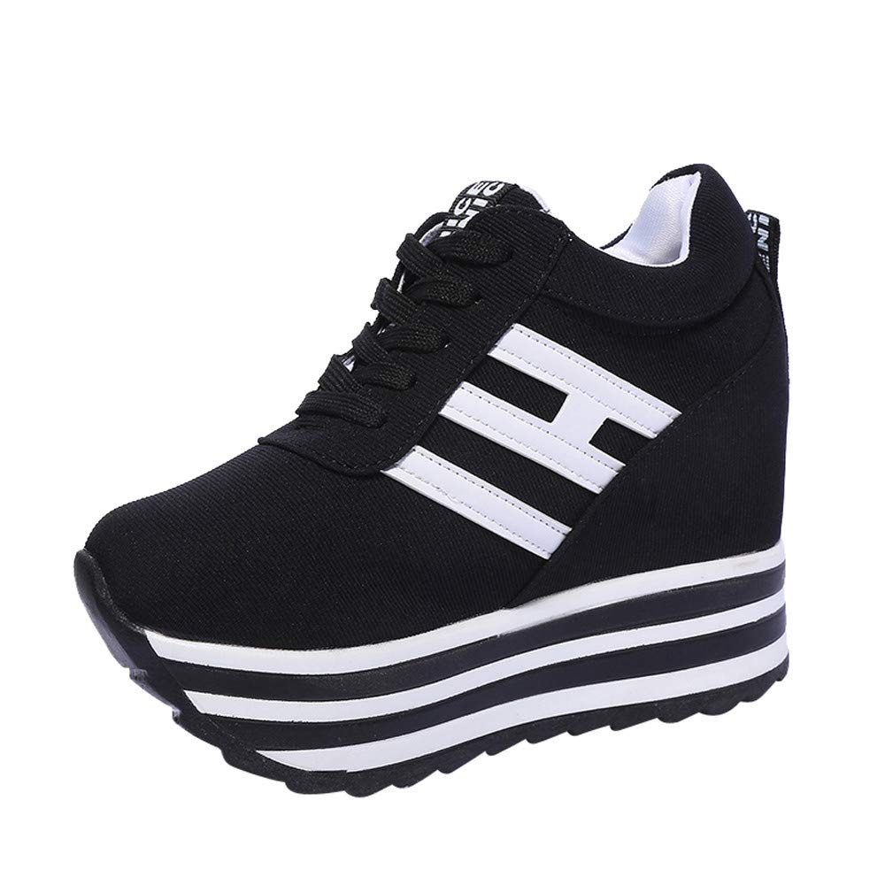 Claystyle High Platform Shoes Women Lace Up Sneaker Canvas Wedge Thick Bottom Sport Shoes Loafers(Black,US: 6.5) by Claystyle Shoes (Image #1)