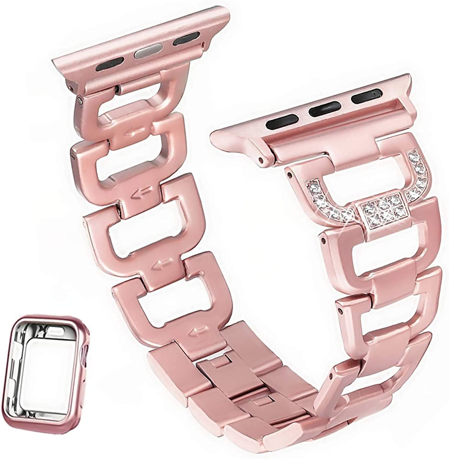 HenMerry Bling Band Compatible for Apple Watch 38mm 40mm Diamond D Style Crystal Rhinestone Strap iwatch Bands Series 6 5 4 3 2 1 Rose Gold Bling Bands