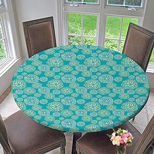 Mikihome Elasticized Table Cover Drawn Daisy Gerbera Carnations Botanical Countryside Theme Artwork White Light Khaki Teal Machine Washable 50