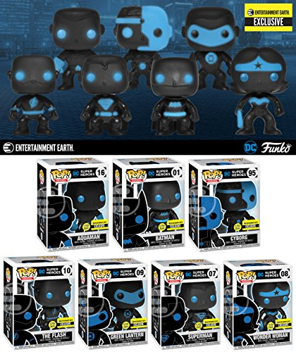Bundle of 7 Entertainment Earth Exclusive Funko Justice League Silhouette Glow-in-the-Dark Pop Superman Batman Wonder Woman The Flash Green Lantern Aquaman Cyborg Entertainment Bundle