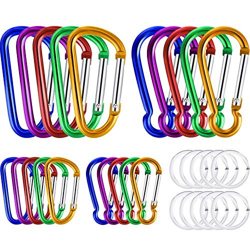 20 Pieces 3 Inch and 1.85 Inch Buckle Clips Aluminum Clip Hooks D-Ring Gourd Shape Buckles and 10 Pieces Stainless Steel Key Rings for Indoor Outdoor Activities ()