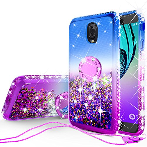 GW USA Glitter Phone Case Kickstand Compatible for Samsung Galaxy J3 2018/J3 Star/J3 Achieve/J3v 3rd Gen/Express Prime 3/Amp Prime 3 Case,Ring Stand Liquid Floating Quicksand Sparkly (Gradient Purple)