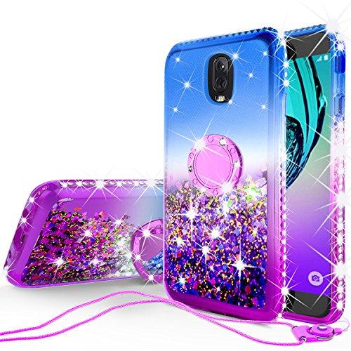 GW USA Glitter Phone Case Kickstand Compatible for Samsung Galaxy J3 2018/J3 Star/J3 Achieve/J3v 3rd Gen/Express Prime 3/Amp Prime 3 Case,Ring Stand Liquid Floating Quicksand Sparkly (Gradient Purple)
