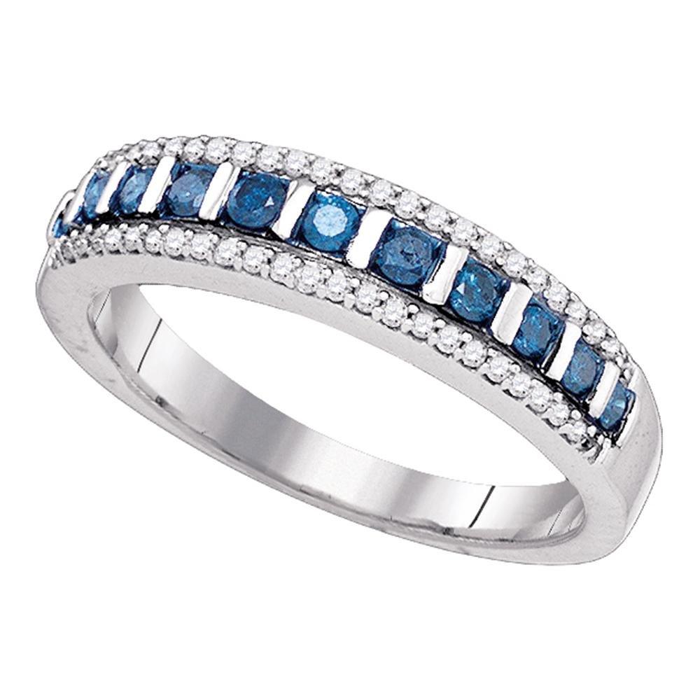 10k White Gold Blue Diamond Semi Eternity Band Fashion Band Round Channel Cut Style Fancy 1/3 ctw Size 7.5