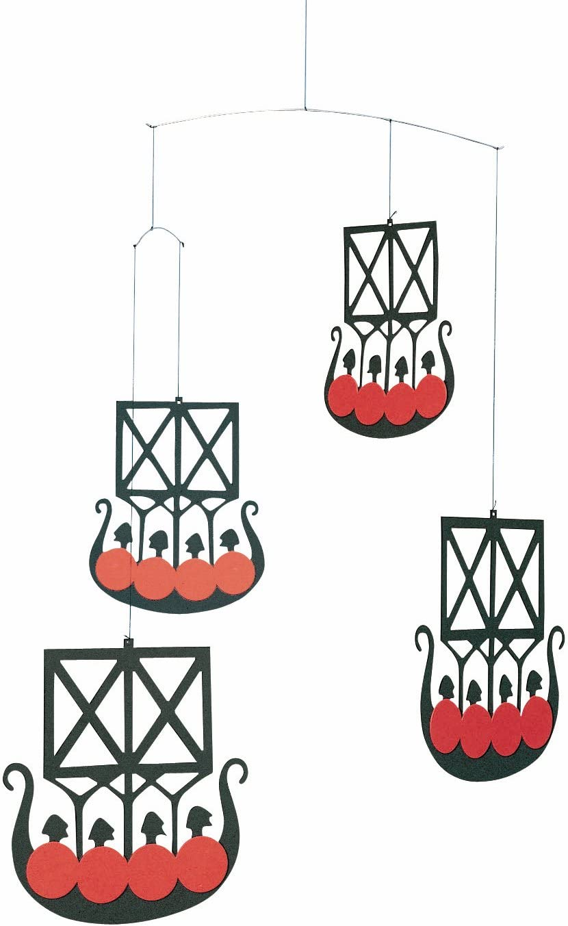 The 4 Vikingships Hanging Mobile - 18 Inches - Handmade in Denmark by Flensted