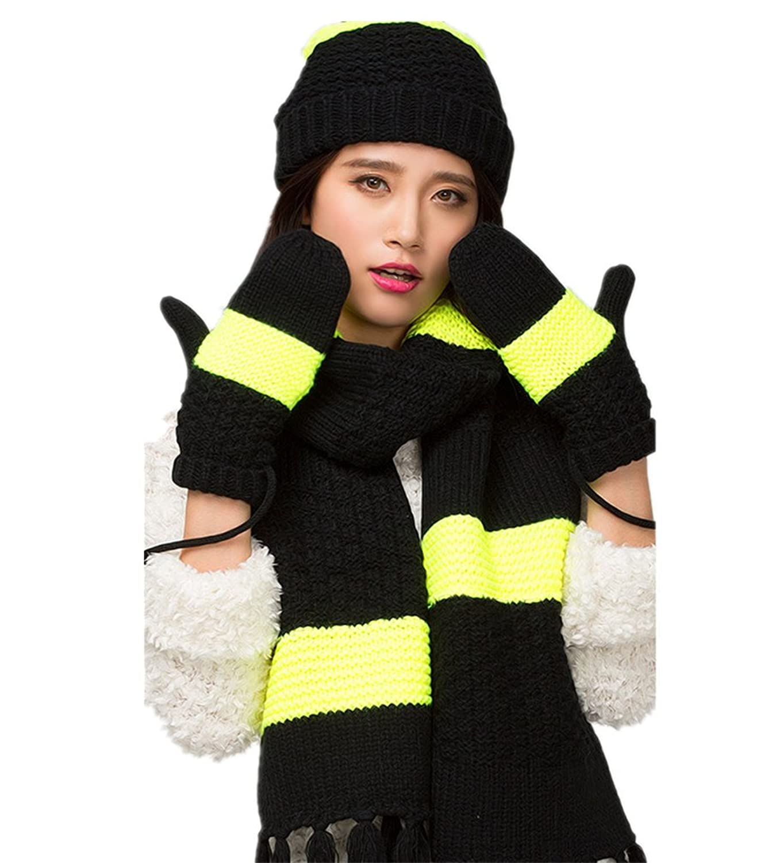 Frau Winter Warm Knitting Hut / Schal / Handschuhe dreiteilige von Withered eingestellt
