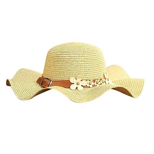 Women Colorful Big Brim Straw Bow Hat Sun Floppy Wide Brim Hats Beach Cap  Beige 637294ec8bff