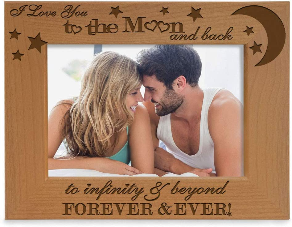 KATE POSH - I Love You to The Moon and Back, to Infinity & Beyond, Forever & Ever - Engraved Natural Wood Picture Frame, Couples in Love Gifts, Valentine's Day, Engagement, Wedding (4x6-Horizontal)