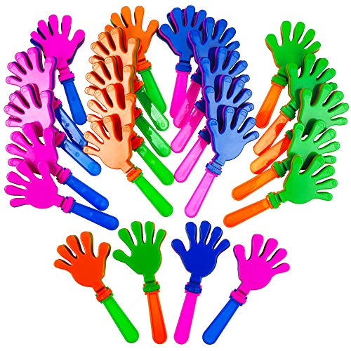 Plastic Hand Clappers - 24 Pack Assorted Colors - Party Favors - Toy for Kids, Easter Hunt, Cinco de Mayo - Noise Makers - by -