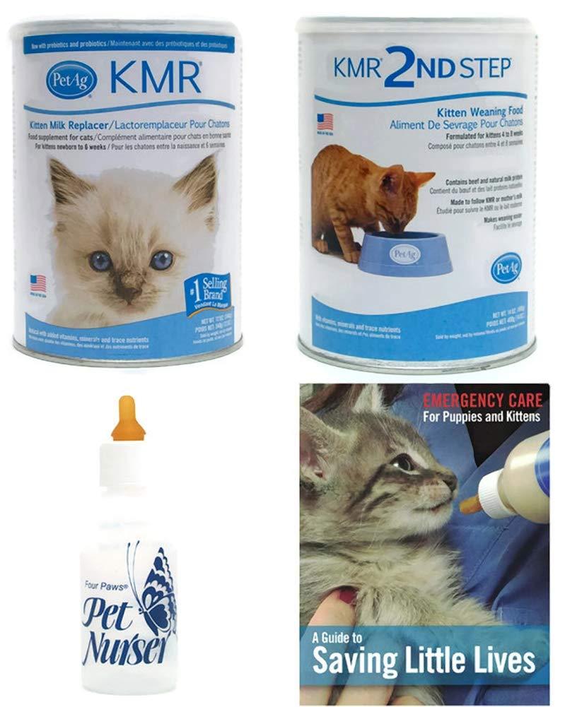AP Taber Store KMR Kitten Milk Replacer Powder Kittens & Cats Four Paws Kitten Nursing Bottle PetAg KMR 2nd Step Kitten Weaning Food Powder Saving Little Lives Brochure Bundle by AP Taber Store