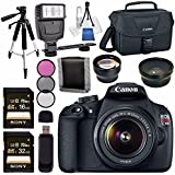 Canon EOS Rebel T5 DSLR Camera with 18-55mm Lens + 58mm Wide Angle Lens + 58mm 2x Lens + Canon 100ES EOS Shoulder Bag Bundle