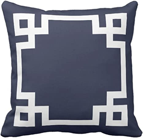 emvency throw pillow cover cute preppy navy blue and white greek key girly decorative pillow case home decor square 20 x 20 inch pillowcase