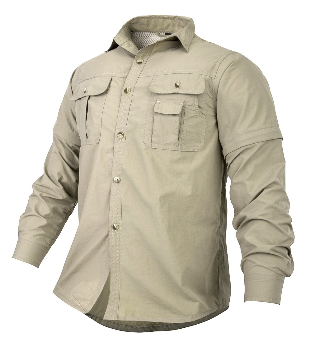 TBMPOY Men's Breathable Anti-Rip UPF 50+ Sun Protection Fishing Shirts for Work Travel Military(khaki,US XXL)