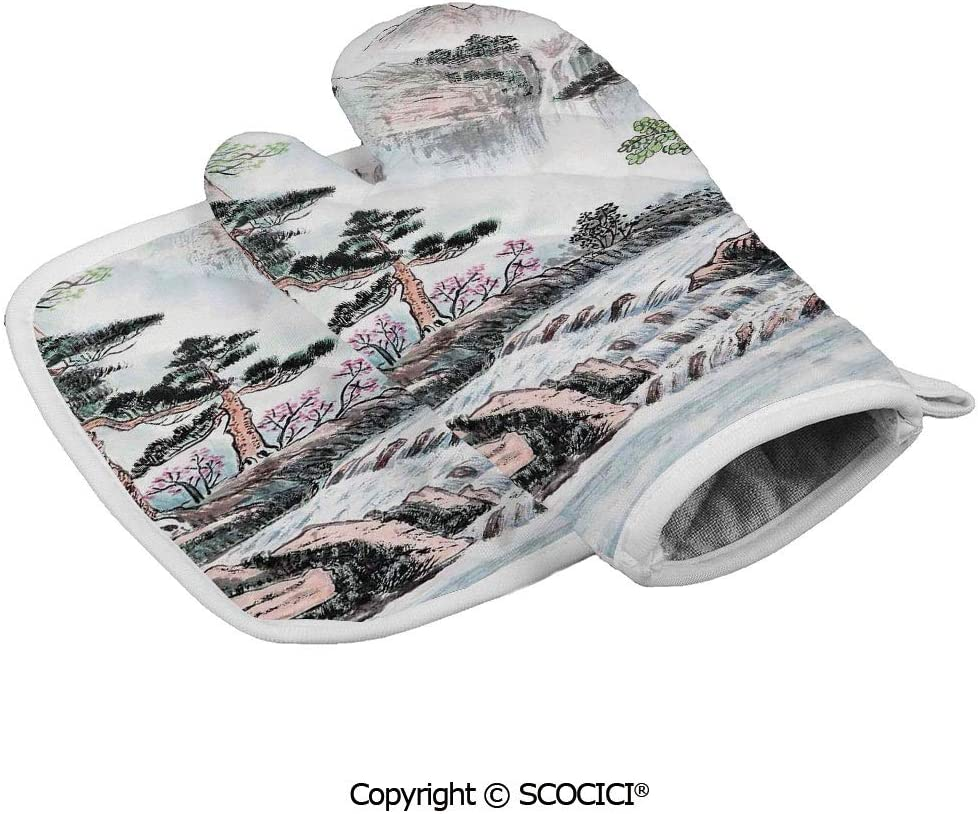 SCOCICI Oven Mitts Glove - Mountain and River Painting Effect Pine Trees Floral Heat Resistant, Handle Hot Oven Cooking Items Safely