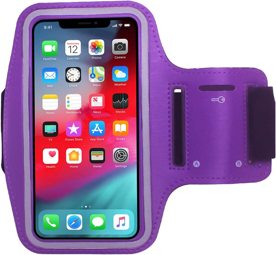 Cbus Wireless Armband Case Compatible with Apple iPhone 11 Pro, Xs, X, 8, 7, 6S, 6, SE, 5S, 5C, 5, iPod Touch Adjustable Band, Reflective with Screen Protection | Running, Jogging, Workout (Purple)