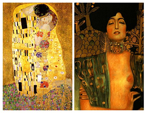 Buttonsmith Gustav Klimt The Kiss Art Nouveau Rectangular Refrigerator Magnet Set - Made in the USA