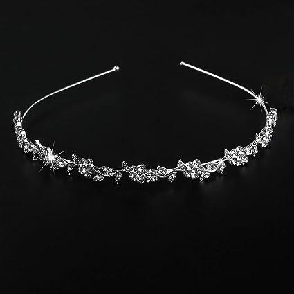 98b Dainy Bridal Silver Plated Flower Crystal Faux Pearl Wedding Tiara Headband Engagement & Wedding