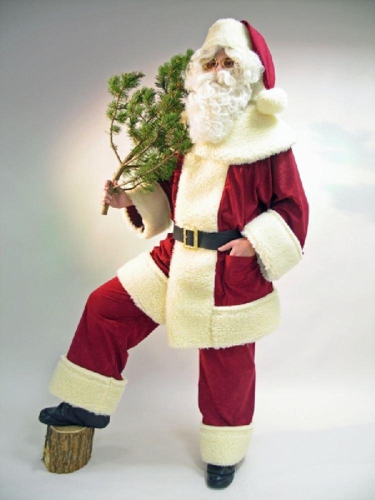 Herren Kostüm Weihnachtsmann mit Mütze 4-teilig aus Waschsamt